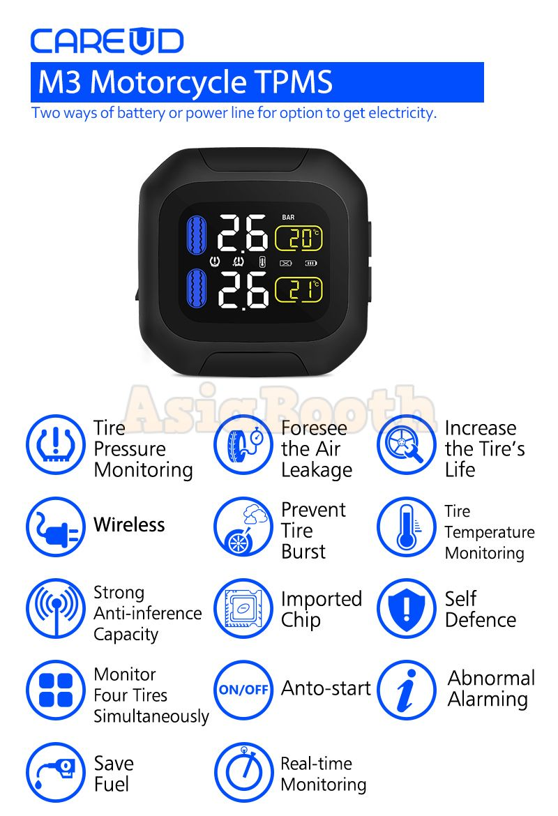 Careud M3 Universal Tpms Tire Pressure Monitor For Motorcycle Bike Battery