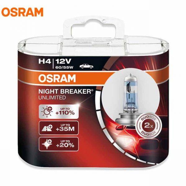 OSRAM Night Breaker Unlimited NBU Halogen Bulbs (H4)
